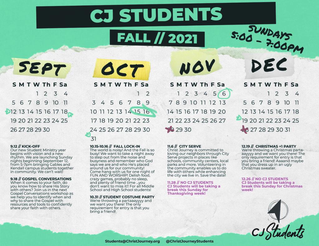 Christ-Journey-Church-Fall Calendar 2021 CJ Students v3